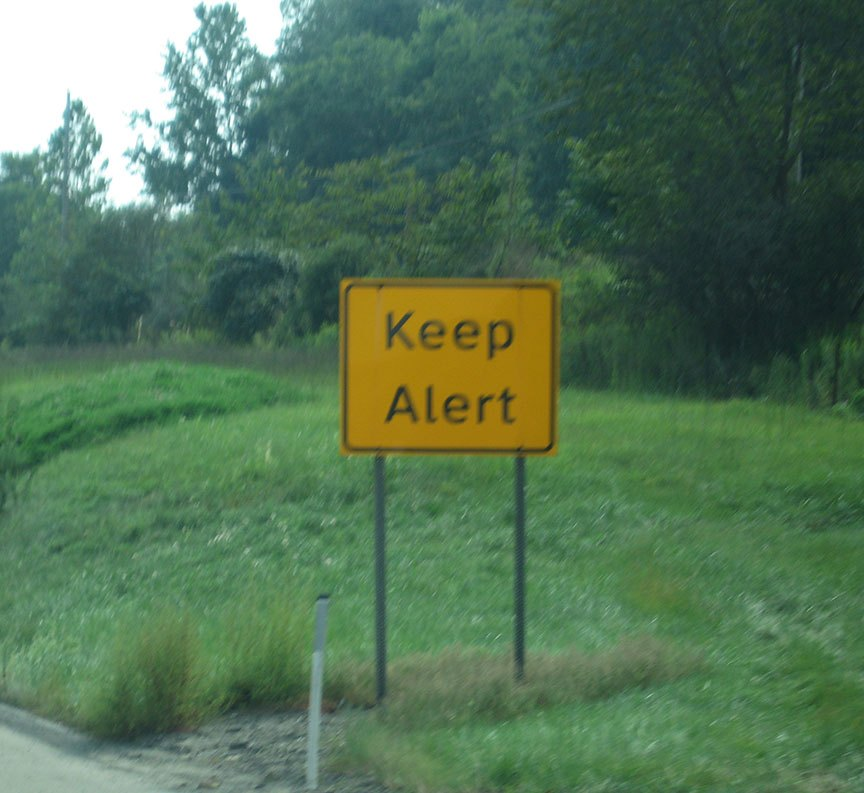 "A yellow sign on the shoulder of the road reads ""KEEP ALERT"""
