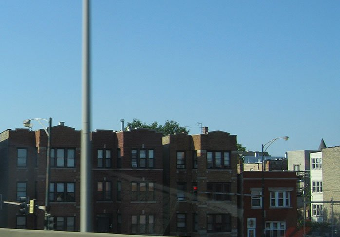 Brick buildings are just off the freeway in the suburbs of Chicago.
