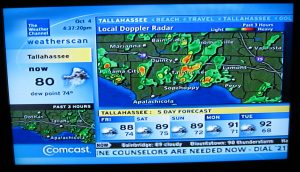 The Weather Channel displays the doppler radar for the panhandle of Florida and the 5 day forecast for Tallahassee